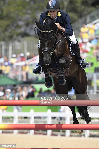 Christopher Burton of Australia competes during the equestrian eventing team jumping final at the 2016 Rio Olympic Games in Rio de Janeiro Brazil on...