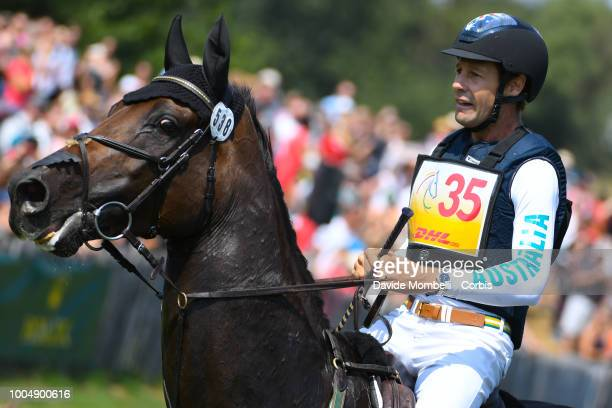 Christopher Burton of Australia riding Quality Purdey during the obstacle in the water of the Cross Country test DHLPrize in the park of the CHIO of...