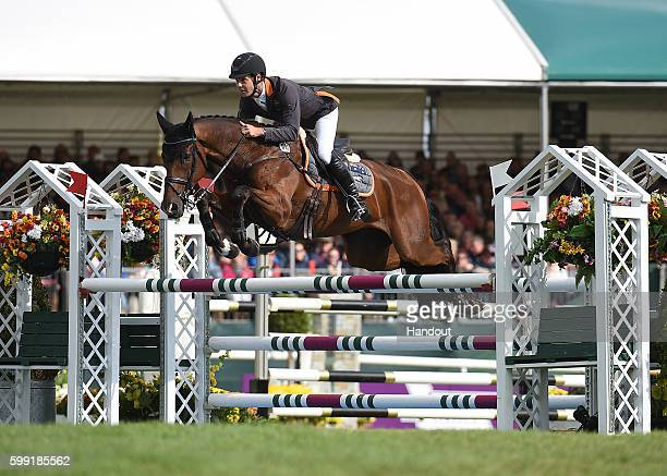Christopher Burton riding Nobilis 18 in action durin the showjumping during The Land Rover Burghley Horse Trials 2016 on September 4 2015 in Stamford...