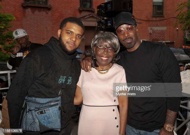 Christopher 'CJ' Wallace, Voletta Wallace and Mark Pitts attend the Notorious B.I.G. Street Naming in Brooklyn New York on June 10, 2019 in Brooklyn,...