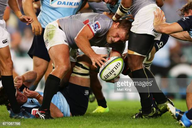 Christopher Cloete of the Kings clears the ball from the ruck during the round nine Super Rugby match between the Waratahs and the Kings at Allianz...