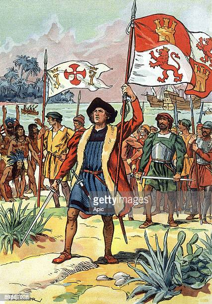 1492 Christopher Colombus arriving in America with spanish flag illustration by JLBeuzon 1933