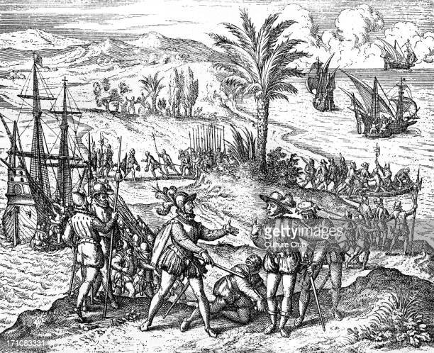Christopher Columbus arrested by Spanish authorities Engraving from 'Americae partes' 1590 CC Spanish explorer 1451 20 May 1506