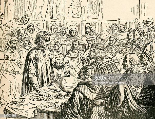 Christopher Columbus Before The Council Of Salamanca Spain In 1487 Christopher Columbus 1451 To 1506 Italian Explorer Colonizer And Navigator From...