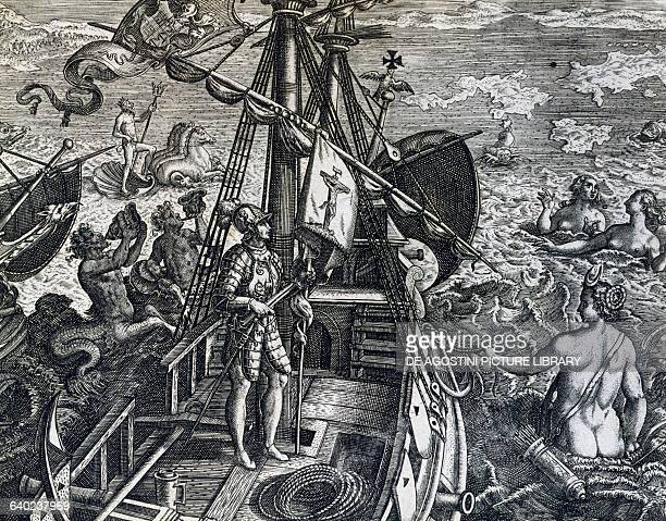 Christopher Columbus discovering the Indies from The Discovery of America by Theodorus de Bry engraving 16th century Venice Biblioteca Nazionale...