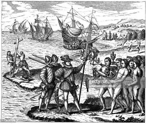 Christopher Columbus Genoese explorer discovering America 12 May 1492 From engraving by Theodore de Bry 1590
