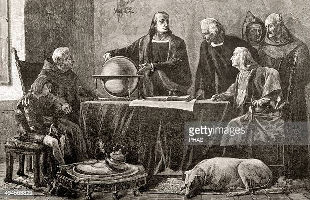 Christopher Columbus Genoese navigator Columbus at the Convent of La Rabida Engraving after the painting by Felipe Manso in The Spanish and American...