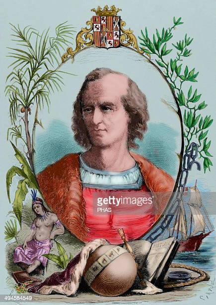 Christopher Columbus Genoese navigator Engraving by Capuz The Spanish and American Illustration 1870 Colored