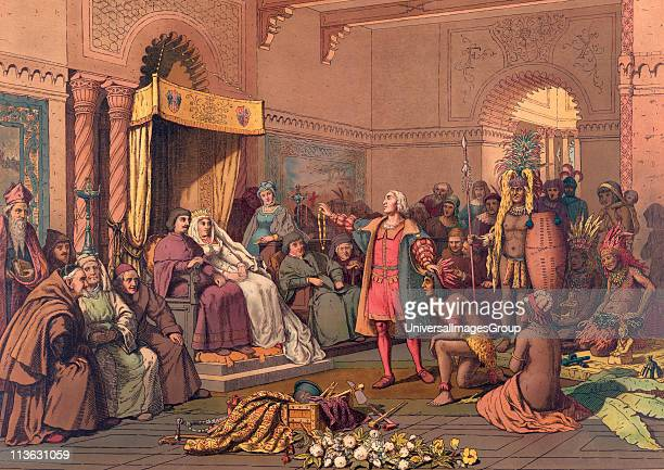 Christopher Columbus in the Barcelona court of King Ferdinand and Queen Isabella of Spain in 1493 after returning from his first voyage to the New...