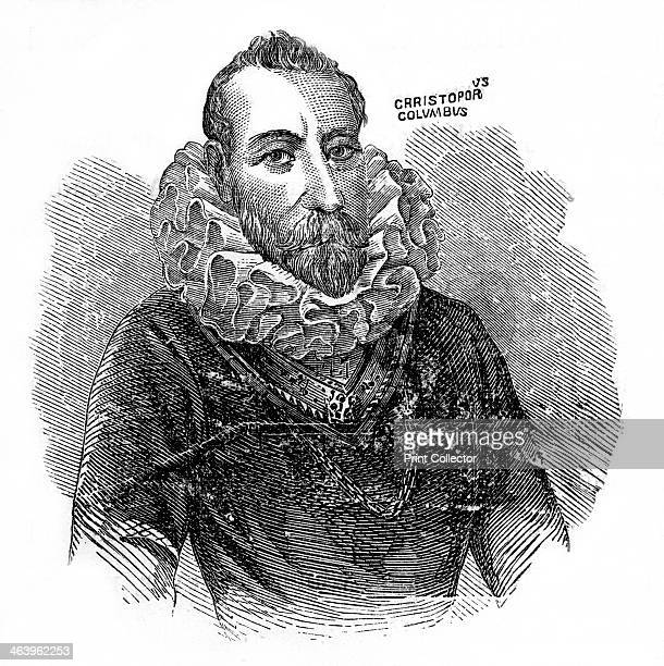 Christopher Columbus Italian explorer and trader Engraving of Columbus with beard and ruff from John Gilmary Shea's A Child's History of the United...