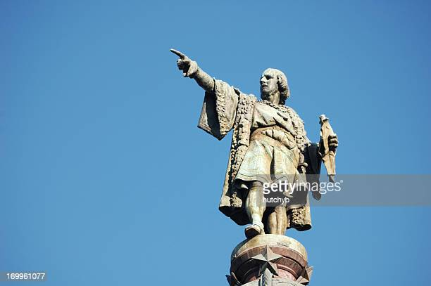 christopher columbus monument, barcelona - christopher columbus explorer stock photos and pictures