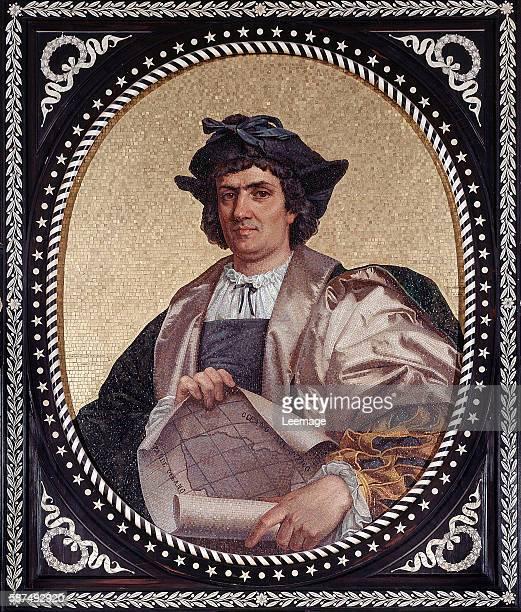 Christopher Columbus mosaic 1867 Palazzo Tursi Genoa Liguria Italy