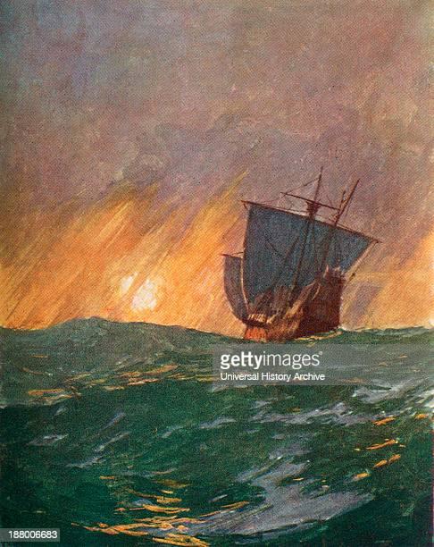 Christopher Columbus Sailing Westward Christopher Columbus C1451 To 1506 Italian Navigator Colonizer And Explorer From The Great Explorers Columbus...