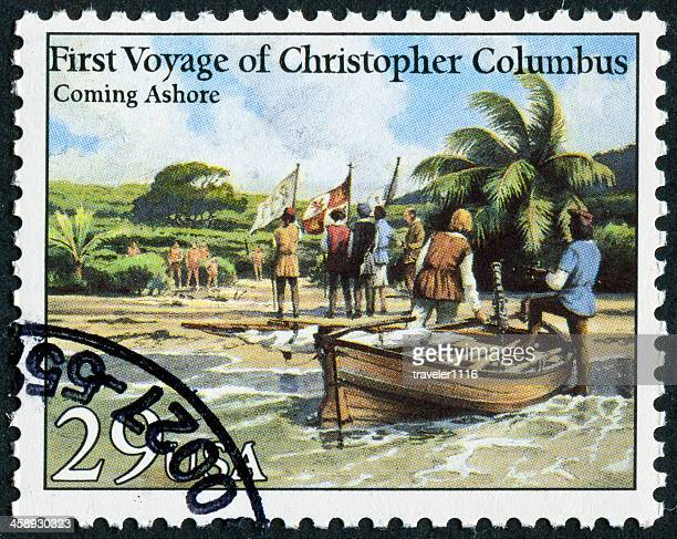 christopher columbus stamp - christopher columbus explorer stock photos and pictures