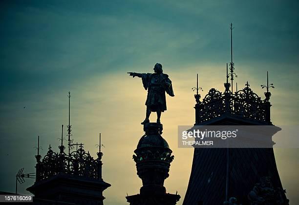Christopher-Kolumbus-Denkmal in silhouette