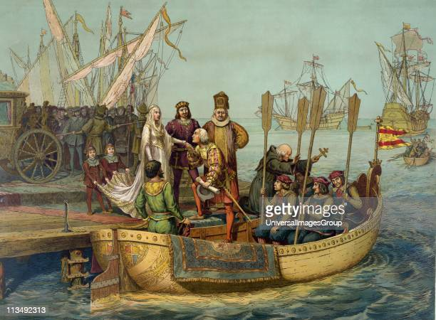 Christopher Columbus taking leave of Isabella of Castile and Ferdinand II of Aragon before setting out on his first voyage to the New World 8 August...