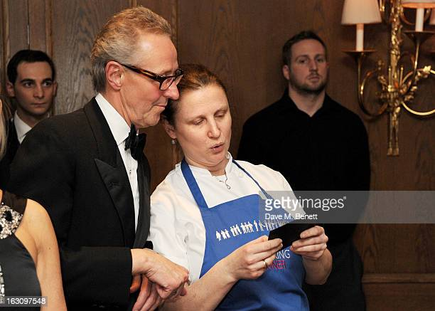Christopher Corbin and chef Angela Hartnett attend the 'Who's Cooking Dinner' charity event featuring 20 of the capital's finest chefs cooking dinner...