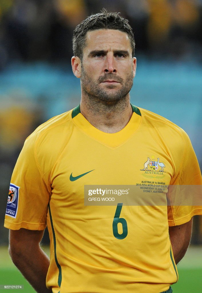 Christopher Coyne from the Australian Socceroos poses prior to the start of the World Cup Asian football qualifier against Bahrain in Sydney on June 10, 2009