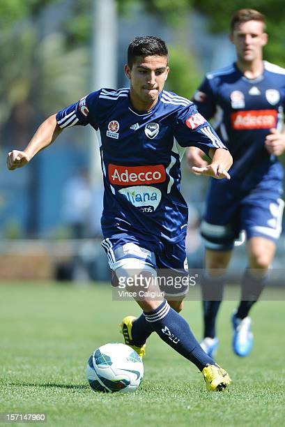 Christopher Cristaldo controls the ball during a Melbourne Victory ALeague training session at Gosch's Paddock on November 29 2012 in Melbourne...