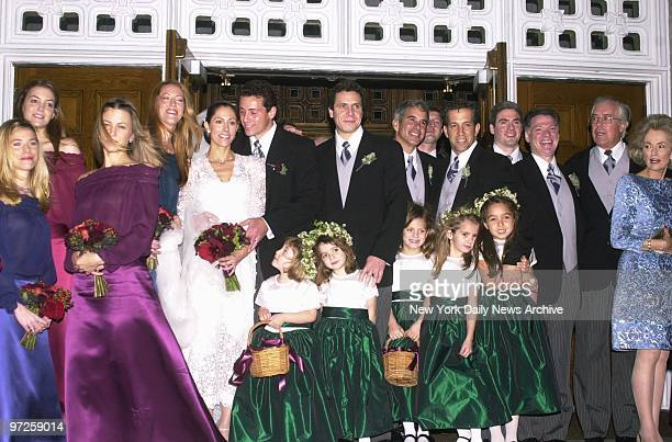 Christopher Cuomo the youngest son of former Gov Mario Cuomo and his new bride Cristina Greeven stand with their wedding party after the couple were...