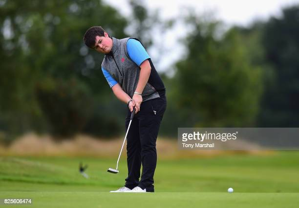 Christopher Curran of Bathgate Golf Club putts on the 18th green during Day One of the Galvin Green PGA Assistants' Championship at Coxmoor Golf Club...