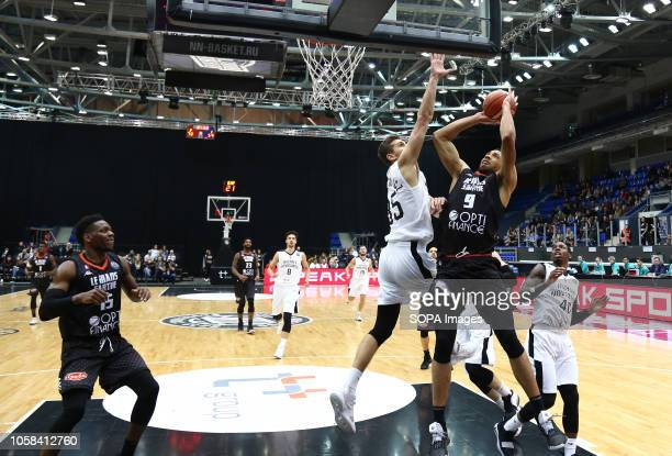 Christopher Czerapowicz Damir Govens and Demitrius Conger Wilfried Yeguete seen in action during the game Basketball Champions League BC Nizhny...