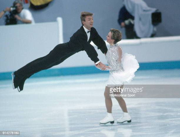 Christopher Dean and Jayne Torvill of Great Britain enroute to a bronze medal during the ice dancing competition at the Lillehammer Olympic Games in...