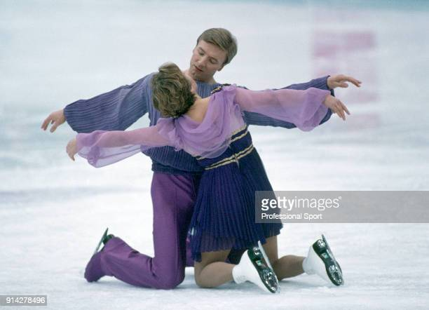 Christopher Dean and Jayne Torvill of Great Britain recreating their 'Bolero' performance at the Lillehammer Olympic Games in Norway circa February...