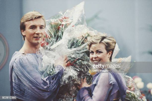 Christopher Dean and Jayne Torvill pictured after winning the 1984 European Ice Dance title at the European Championships in Budapest Hungary