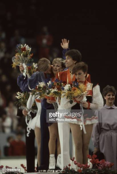 Christopher Dean Jayne Torvill Andrei Bukin Natalia Bestemianova medal ceremony for the Ice dancing competition at the 1984 Winter Olympics / XIV...