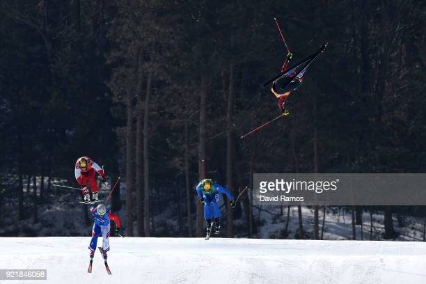 Christopher Delbosco of Canada crashes in the Freestyle Skiing Men's Ski Cross 1/8 finals on day 12 of the PyeongChang 2018 Winter Olympic Games at...