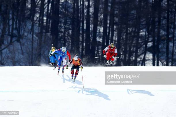Christopher Delbosco of Canada Siegmar Klotz of Italy Sergey Ridzik of Olympic athletes of Russia and Francois Place of France compete in the...