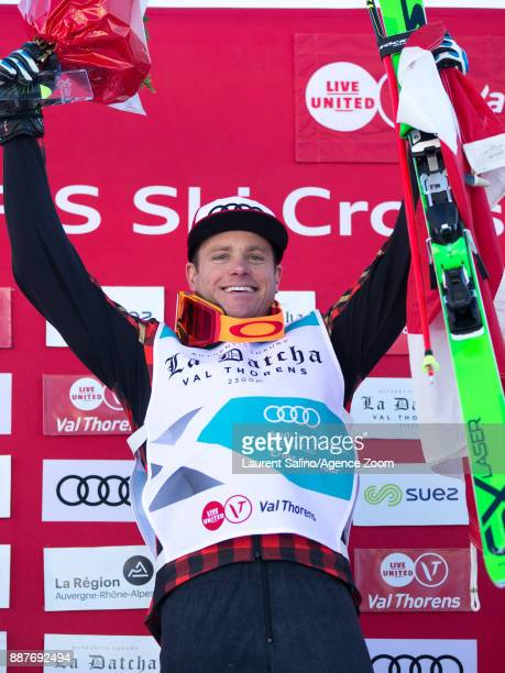Christopher Delbosco of Canada takes 1st place during the FIS Freestyle Ski World Cup Men's and Women's Ski Cross on December 7 2017 in Val Thorens...