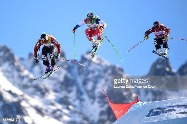 Christopher Delbosco of Canada takes 1st place Jonas Lenherr of Switzerland competes Brady Leman of Canada competes during the FIS Freestyle Ski...