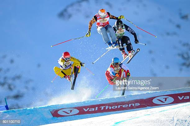 Christopher Delbosco of Canada takes 3rd place during the FIS Freestyle Ski World Cup Men's and Women's Ski Cross on December 12 2015 in Val Thorens...