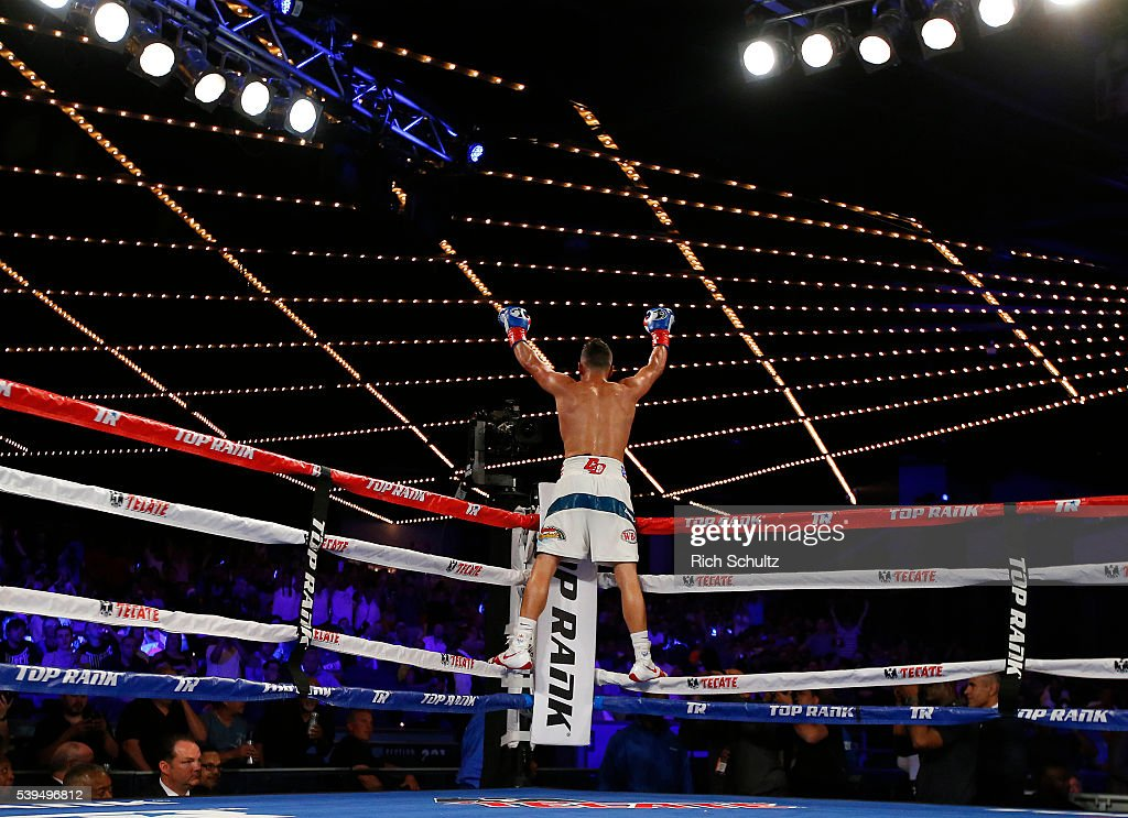 Christopher Diaz celebrates his TKO victory over Neftali Campos during their Featherweight bout on June 11, 2016 at the Theater at Madison Square Garden in New York City.