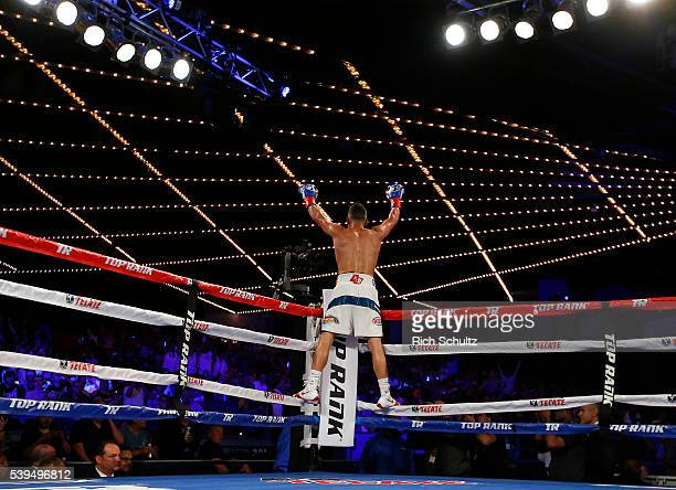Christopher Diaz celebrates his TKO victory over Neftali Campos during their Featherweight bout on June 11 2016 at the Theater at Madison Square...