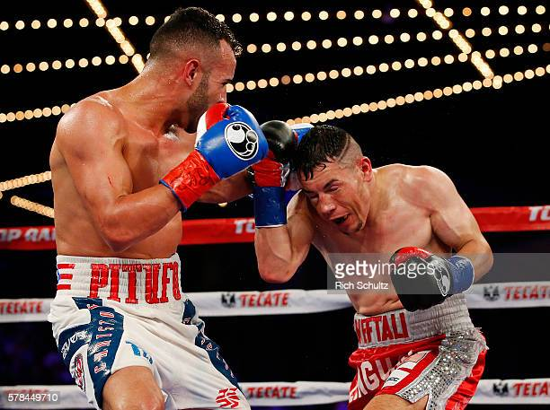 Christopher Diaz left lands a left in action against Neftali Campos during their Featherweight bout on June 11 2016 at the Theater at Madison Square...