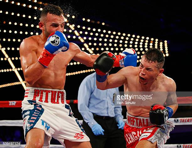Christopher Diaz left lands a left punch to the face of Neftali Campos during their Featherweight bout on June 11 2016 at the Theater at Madison...