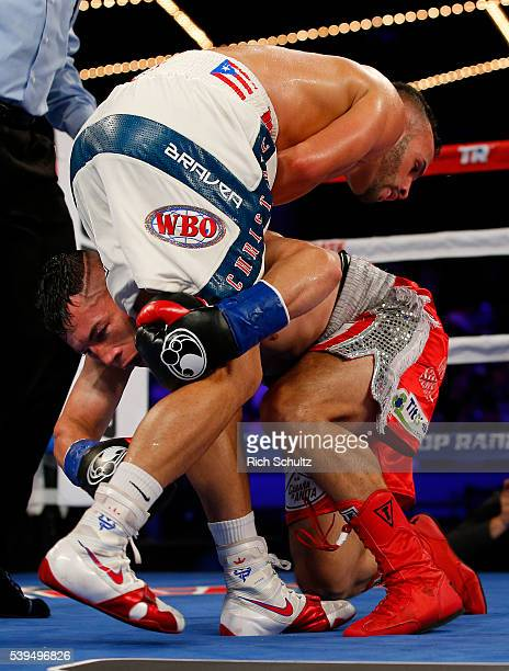 Christopher Diaz left lis grabbed by Neftali Campos during their Featherweight bout on June 11 2016 at the Theater at Madison Square Garden in New...