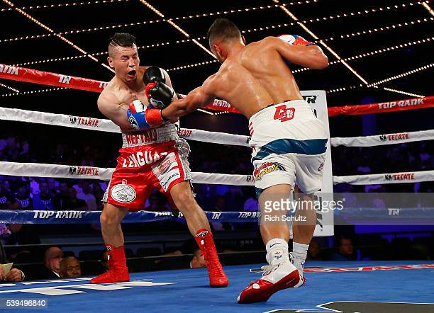 Christopher Diaz right lands a punch to the body of Neftali Campos during their Featherweight bout on June 11 2016 at the Theater at Madison Square...