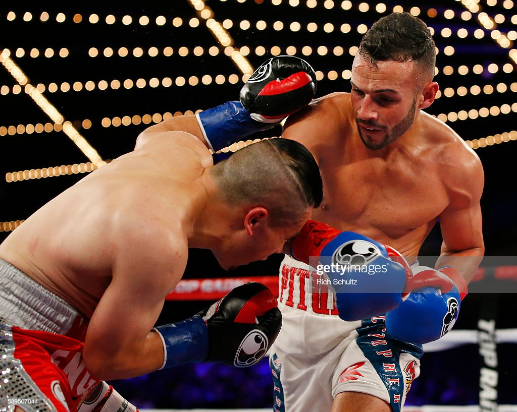 Christopher Diaz, right, lands a right punch to the face of Neftali Campos during their Featherweight bout on June 11, 2016 at the Theater at Madison Square Garden in New York City. Diaz won by a TKO.