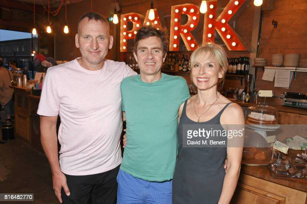 Christopher Eccleston cast member Paul Higgins and wife Amelia Bullmore attend the press night party for 'Twilight Song' at The Park Theatre on July...