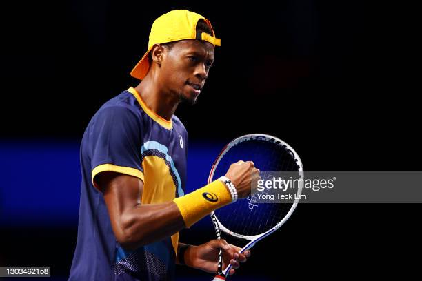Christopher Eubanks of the United States celebrates a point in his Men's Singles first round match against Alexei Popyrin of Australia on day one of...