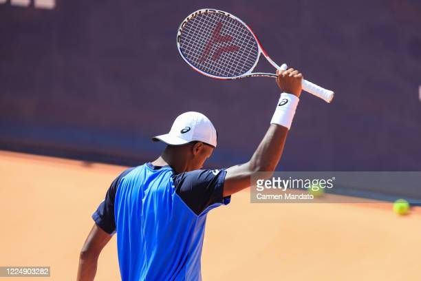 Christopher Eubanks of the United States celebrates defeating John Isner of the United States during the final day of the DraftKings All-American...