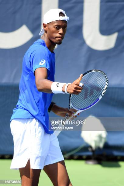 Christopher Eubanks of the United States looks on during a match against Reilly Opelka of the United States during Day 2 of the Citi Open at Rock...