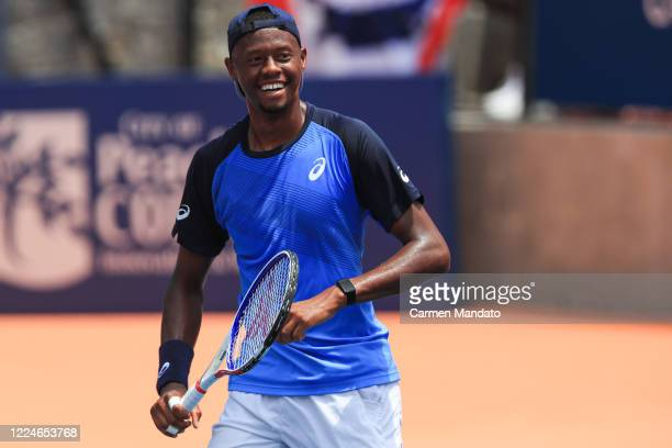 Christopher Eubanks of the United States looks on during the singles match against Tennys Sandgren of the United States during the DraftKings...