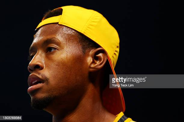 Christopher Eubanks of the United States looks on in his Men's Singles qualifying match against Alessandro Bega of Italy during the Singapore Tennis...