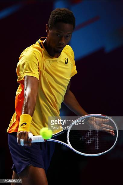 Christopher Eubanks of the United States plays a backhand in his Men's Singles qualifying match against Rohan Bopanna of India during the Singapore...