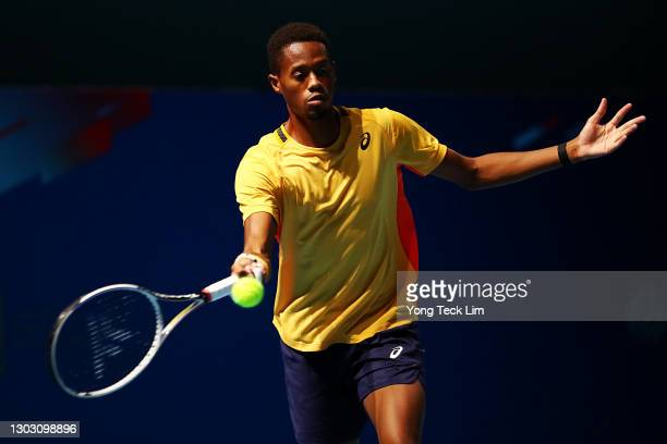 Christopher Eubanks of the United States plays a forehand in his Men's Singles qualifying match against Rohan Bopanna of India during the Singapore...